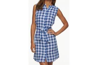 Caribbean Joe Women's Dress Blue Size Large L Shirt Plaid Tie Front