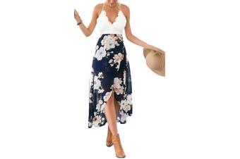 Blooming Jelly Women's Dress Blue Size Large L Sheath Floral Crochet