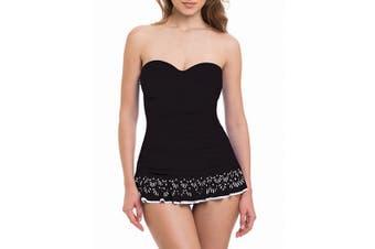 Profile by Gottex Women's Swimwear Black Size 16 Laser-Cut Swimdress
