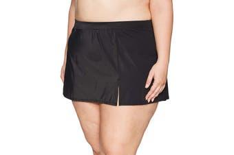 Coastal Blue Women's Swimwear Black Size 2X Plus Swim Skirt Slit Pull-On #932