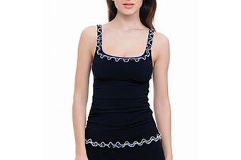Profile by Gottex Women's Swimwear Black Size 10 Indigo Tankini Top