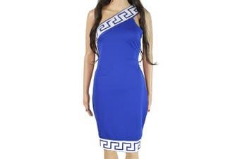 Designer Brand Womens Dress Royal Blue Size Large L Sheath One Shoulder