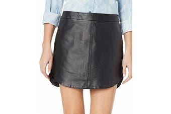 BB Dakota Women's Skirt True Black Size 6 Side Split Mini Leather