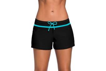 Aleumdr Women's Swimwear Black Size Small S Side Split Waistband Shorts