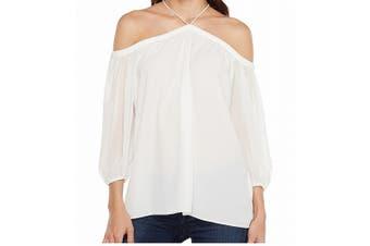 1.State Women's Blouse Soft White Size Large L Cold Shoulder Halter