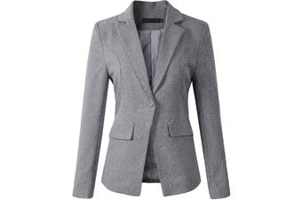 Benibos Women's Jacket Smokey Gray Size Large L Notch Collar Seamed