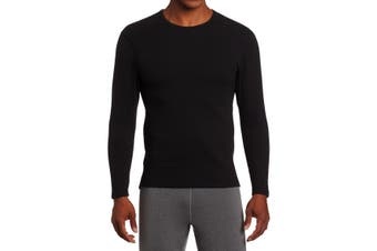 Duofold Mens T-Shirt Black Size Large L Solid Long Sleeve Crewneck Tee