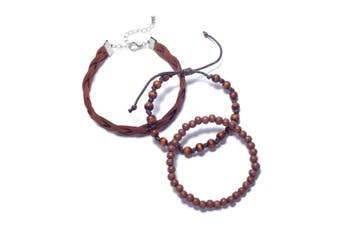 Rogue Accessories Men's Bracelet Brown One Size Greenville 3 Piece Set #536