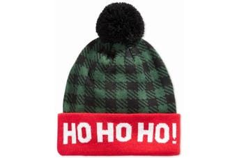 American Rag Men's Hat Green Red One Size Ho-Ho-Ho Plaid Pom-Pom Beanie #626