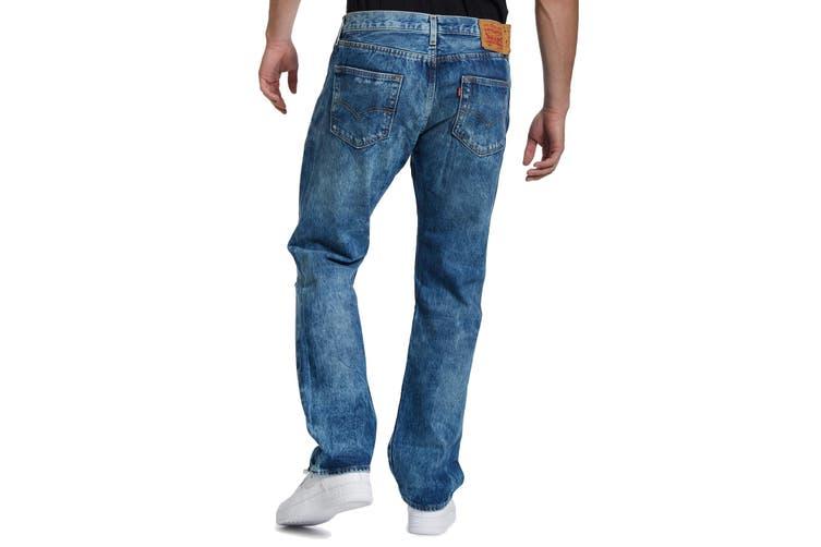 Levi's Mens Jeans Blue Size 36x30 Straight Leg 501 Original Fit Ripped