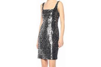 Black Halo Women's Dress Black Size 2 Sheath Leopard Printed Sequin