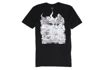 Armani Exchange Mens T-Shirt Black Size Medium M Blurred Crewneck Tee