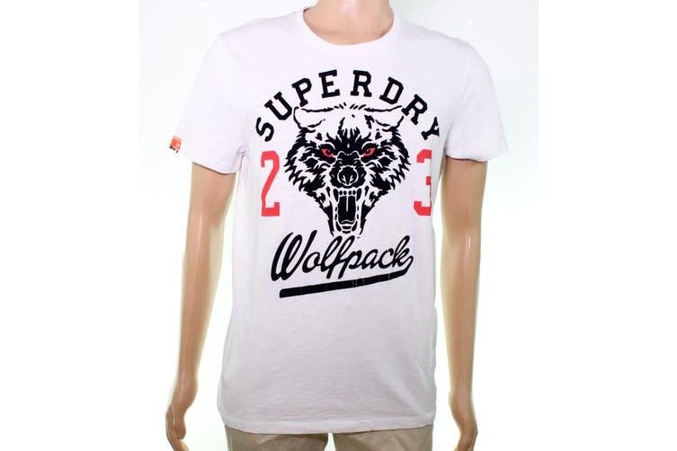 Superdry Mens Graphic Tee T-Shirt White Size Large L 'Wolf Pack 23'