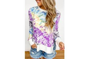 Azura Exchange Purple High Low Hem Tie-dye Print Top with Slits