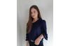 Azura Exchange Blue Flare Sleeve V Neck Loose Blouse