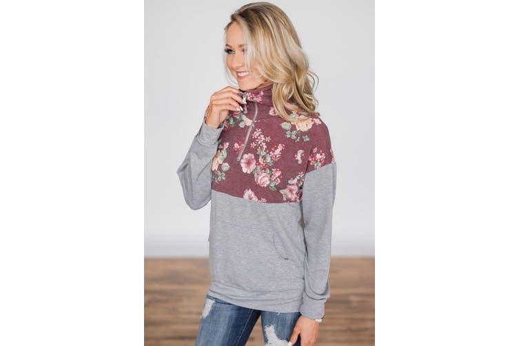 Azura Exchange Floral Splice Grey Kangaroo Pocket Zip Collar Sweatshirt
