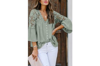 Azura Exchange Green Crochet Lace Button Top