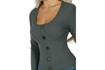 Azura Exchange Gray Subtly Ribbed Button Front Long Sleeve Top