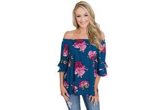 Azura Exchange Sky Blue Bring on The Floral Off The Shoulder Top