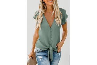 Azura Exchange Green Forever Tonight Button Down Tie Top