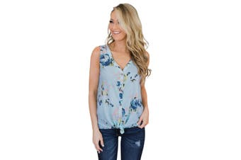 Azura Exchange Sky Blue Touch The Sky Open Front Floral Tank Top