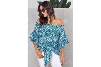 Azura Exchange Sky Blue Bohemian Floral Print Off The Shoulder Blouse