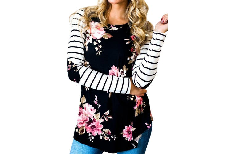 Azura Exchange Floral Striped Elbow Patch Baseball Long Sleeve Top