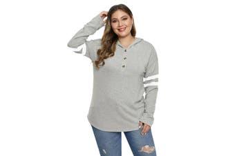 Azura Exchange Gray Plus Size Long Sleeve Pullover Hoodie