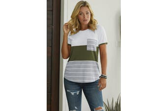 Azura Exchange Green Right Here With Me Color Block Top