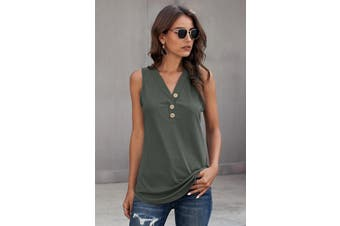Azura Exchange Green Just Say The Word 3 Button Tank Top
