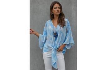 Azura Exchange Sky Blue Tie Dye V Neck Top