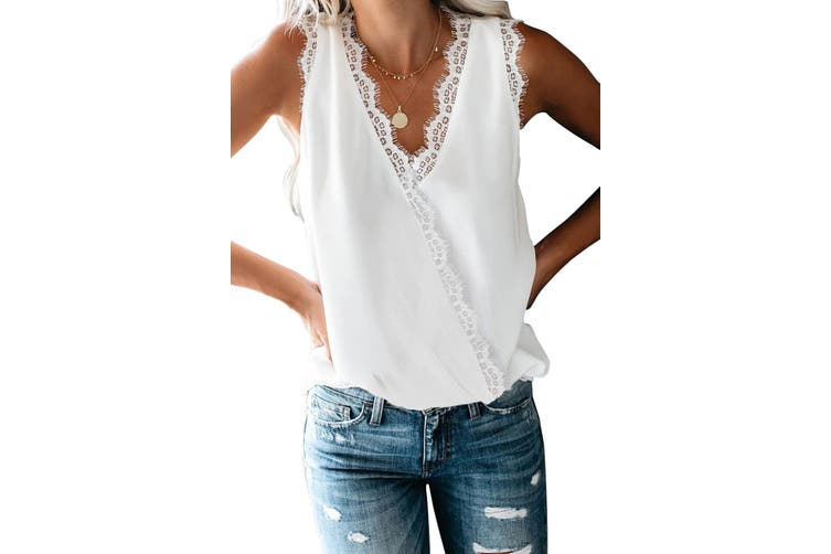 Azura Exchange White Eyelash Lace Trim Wrap V Neck Tank Top