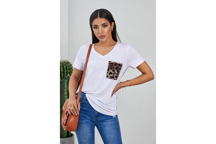 Azura Exchange White Leopard Printed Splicing T-Shirt