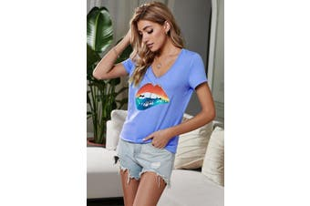 Azura Exchange V Neck Sexy Mouth Blue T-shirt