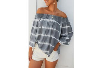 Azura Exchange Gray Striped Off-the-shoulder Nine-point Sleeve Blouse