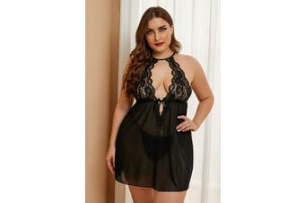 Azura Exchange Black Plus Size Stretch Mesh and Lace High Neck Babydoll