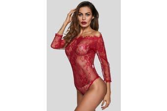 Azura Exchange Burgundy Long Sleeve Embroidery Lace Bodysuit