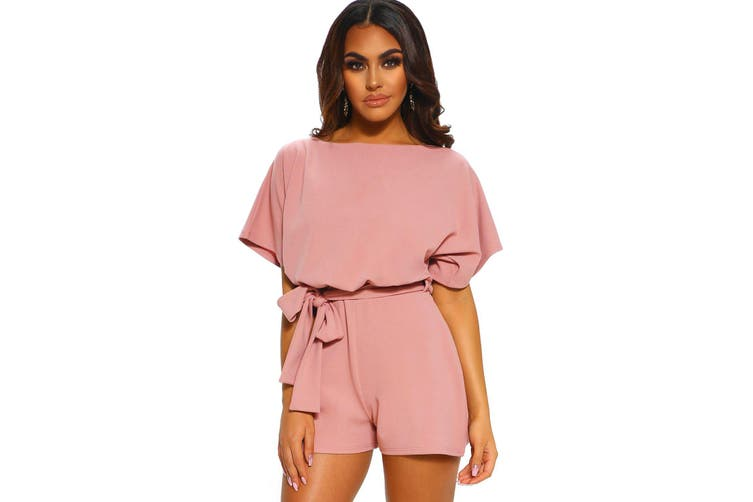 Azura Exchange Pink Over The Top Belted Playsuit
