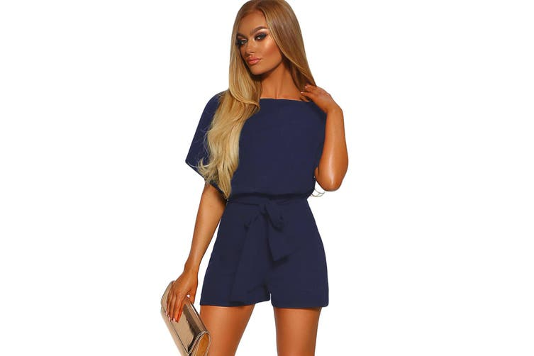 Azura Exchange Blue Over The Top Belted Playsuit