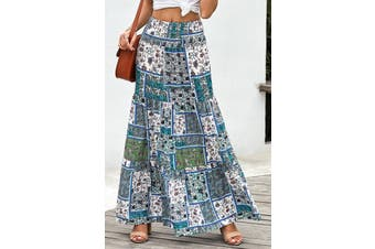 Azura Exchange Green Boho Print Tie-Up Waist Long Maxi Skirt