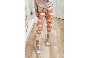 Azura Exchange Orange Camo Print Knit Sport Pants
