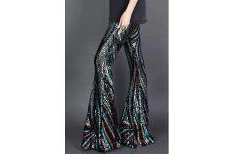 Azura Exchange Black&Green Sequin Pants