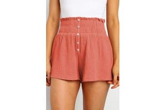 Azura Exchange Orange Crapy Banner Shorts