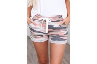 Azura Exchange Multicolor Camo Print Cotton Casual Shorts