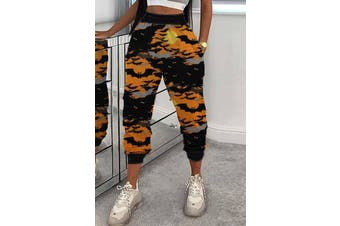 Azura Exchange Orange Halloween Bat Print Casual Pants