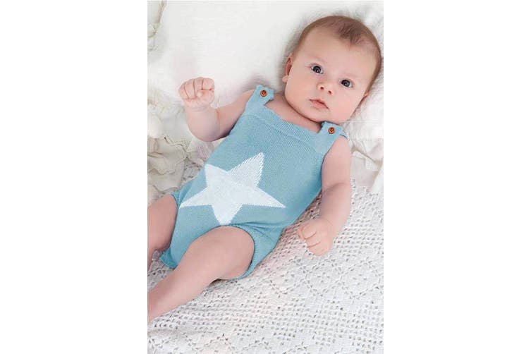 Azura Exchange Light Blue Star Pattern Knitted Infant Romper Baby Wear