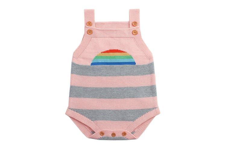 Azura Exchange Pink Rainbow Pattern Knit Baby Onesies