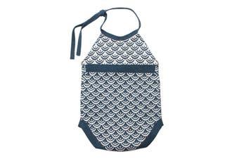 Azura Exchange Blue Newborn Baby Sleeveless Knit Scale Romper