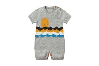 Azura Exchange Gray Adorable Shy Sun Pattern Knitted T-shirt Baby Romper