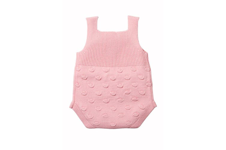 Azura Exchange Pink Ribbed&Spotted Cotton Knit Sleeveless Baby Romper